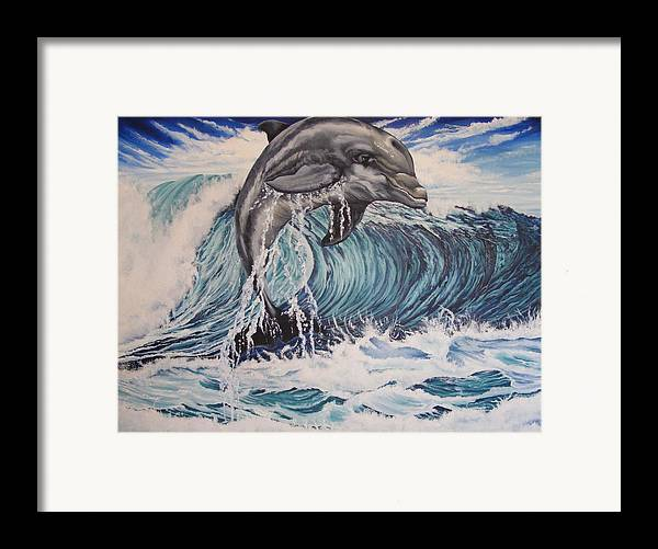 Dolphin Framed Print featuring the painting Joy by Donald Dean