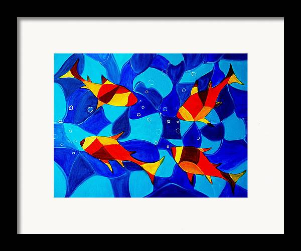 Abstract.acrylic.fish.bubbles.art.painting.modern.contemporary.popblue Red Bubbles Yellow Landscape Framed Print featuring the painting Joy Fish Abstract by Manjiri Kanvinde