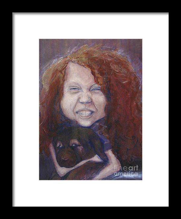 Girl Framed Print featuring the painting joy by Sarah Goodbread