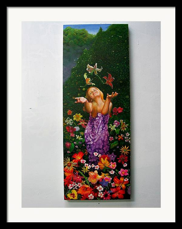 Joy/young Girl/ Flowers/outdoors/nature Framed Print featuring the painting Joyeuse by RC Bailey