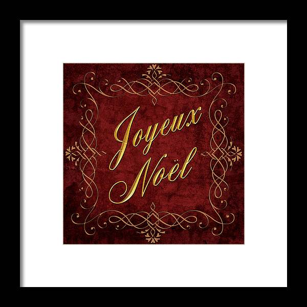 Joyeux Noel Framed Print featuring the digital art Joyeux Noel In Red And Gold by Caitlyn Grasso
