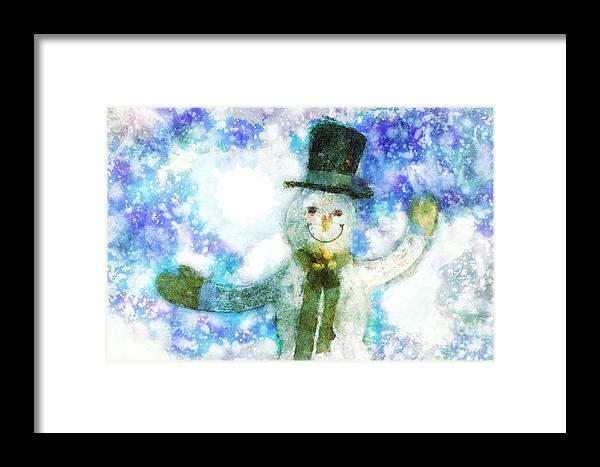 Happy Framed Print featuring the digital art Christmas Cheer by Davy Cheng