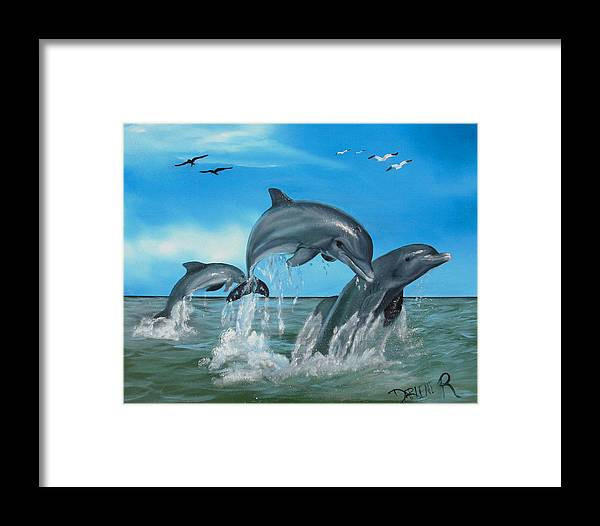 Dolphins Framed Print featuring the painting Joyful Trio by Darlene Green