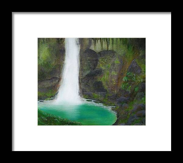 Waterfall Framed Print featuring the painting Juana Falls by Tony Rodriguez
