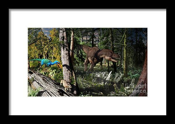 Paleoart Framed Print featuring the digital art Judithian Montana Mural by Julius Csotonyi