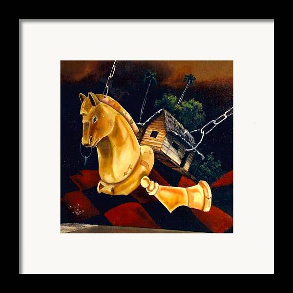 Chess Pieces Framed Print featuring the painting Juego Fatal by Carlos Rodriguez Yorde