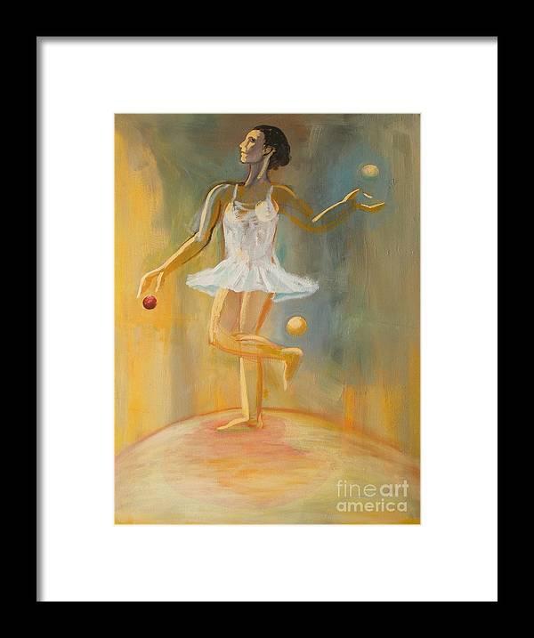 Juggling Framed Print featuring the painting Juggling by Ushangi Kumelashvili