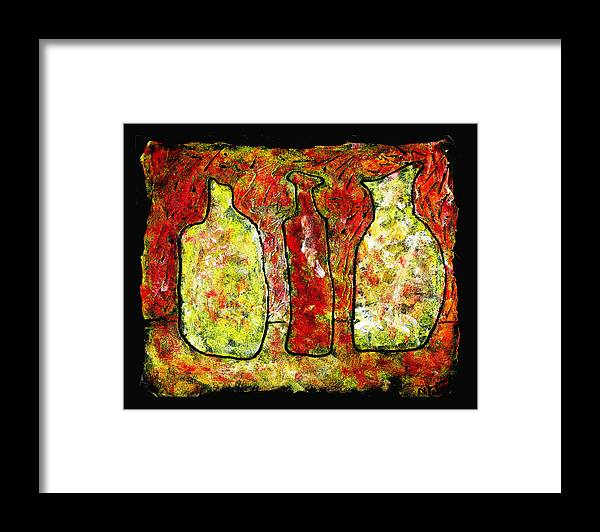 Jugs Framed Print featuring the painting Jugs by Wayne Potrafka
