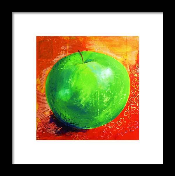 Apple Framed Print featuring the painting Juicy Green by Erika Larskaya