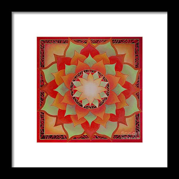 Mandala Framed Print featuring the painting Juicy Lotus by Charlotte Backman