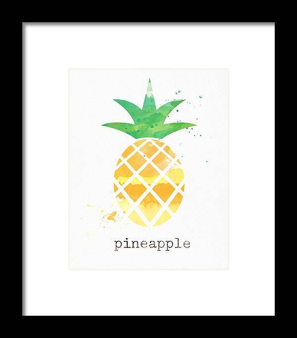Pineapple Framed Print featuring the painting Juicy Pineapple by Linda Woods