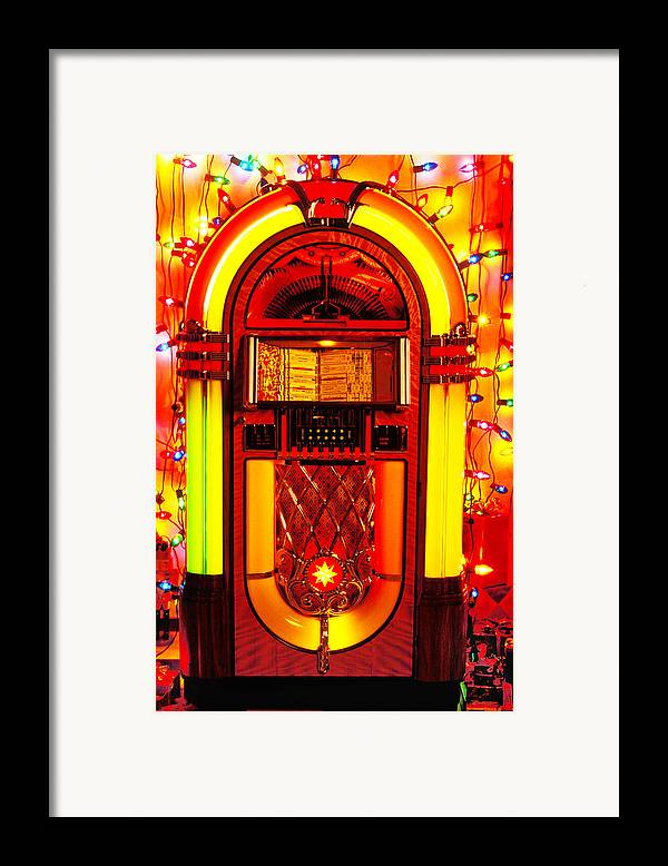 Juke Box Framed Print featuring the photograph Juke Box With Christmas Lights by Garry Gay
