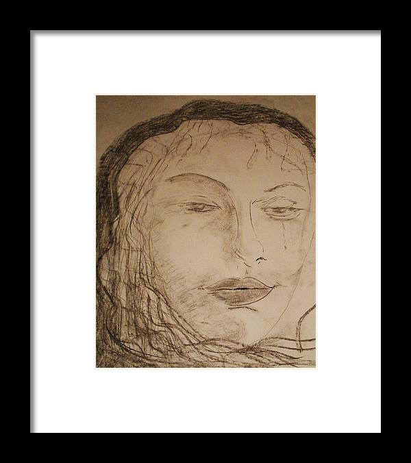 Romance Framed Print featuring the drawing Julia Weeps by J Bauer