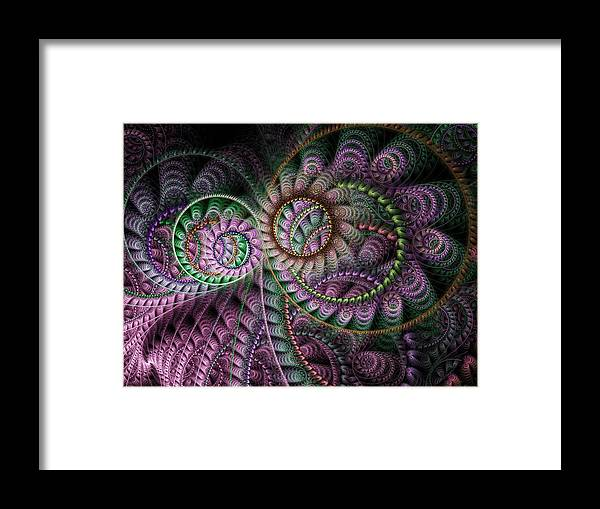 Fractal Framed Print featuring the digital art Julian Circus Rings by Amorina Ashton