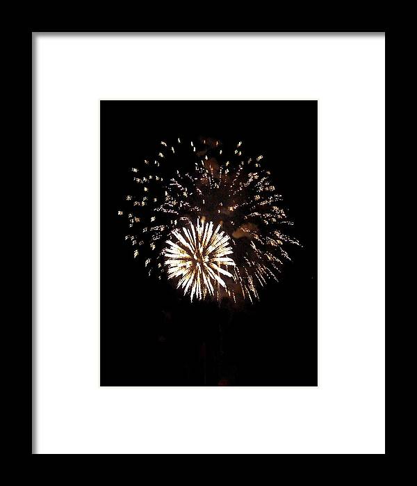 Fireworks Framed Print featuring the photograph July 4th Fireworks by Jeanette Oberholtzer