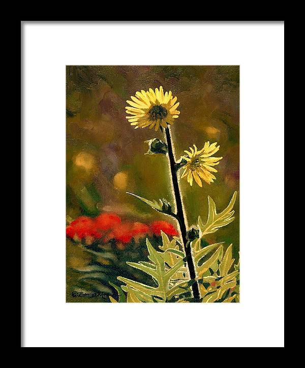 Prairie Flowers Framed Print featuring the painting July Afternoon-compass Plant by Bruce Morrison