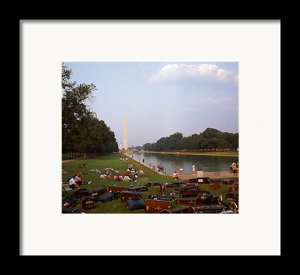 Water washington Monument Lawn Grass Music People Framed Print featuring the photograph July In Dc by Lawrence Costales