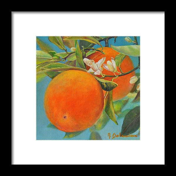 Acrylic Painting Framed Print featuring the painting Jumelles Orange by Muriel Dolemieux