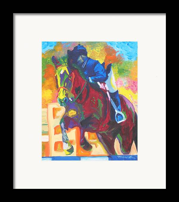 Horse Jumping Framed Print featuring the painting Jump Off by Michael Lee