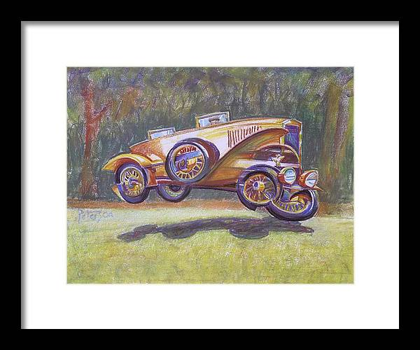 Antique Car Framed Print featuring the drawing Jumpin Auburn Car by Gary Peterson