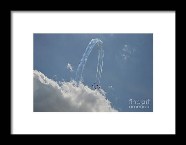 Canada Snowbirds Framed Print featuring the photograph Jumping Over The Clouds by Sheila Lee