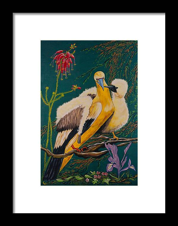 Birds Framed Print featuring the painting Jungle Baby by V Boge
