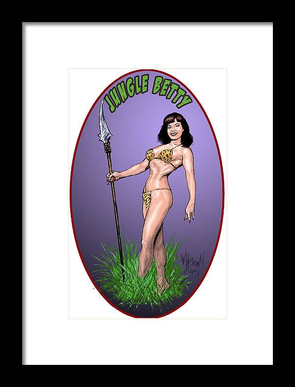 Betty Page Framed Print featuring the digital art Jungle Betty T-shirt Design by Will Brown