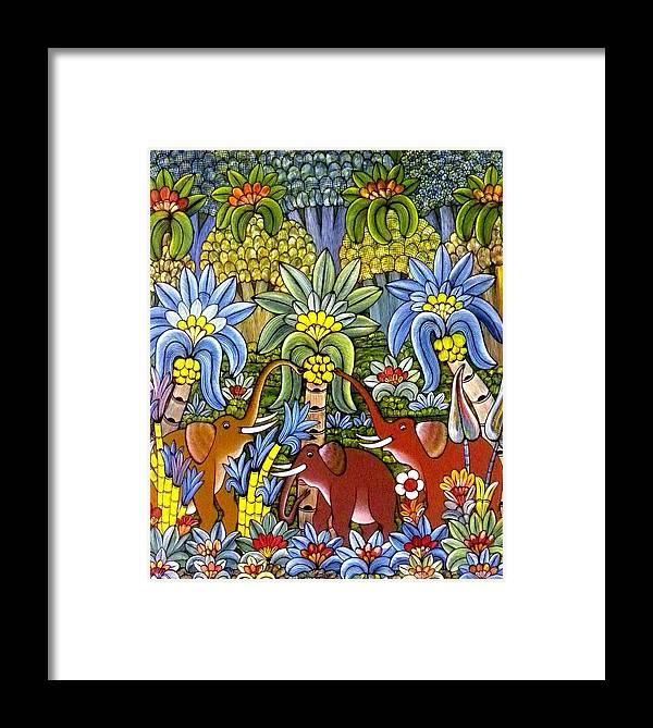 Jungle Framed Print featuring the painting Jungle Elephants by Anina von Wachtel Diani Beach Art Gallery