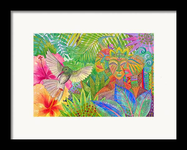 Tropical Exotic Jungle Wild Life Bird Spirit Masks Framed Print featuring the painting Jungle Spirits And Humming Bird by Jennifer Baird