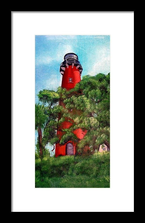 Jupiter Lighthouse Framed Print featuring the painting Jupiter Inlet Lighthouse by Darlene Green