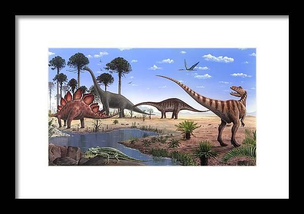 Ardeosaurus Framed Print featuring the photograph Jurassic Dinosaurs, Artwork by Richard Bizley