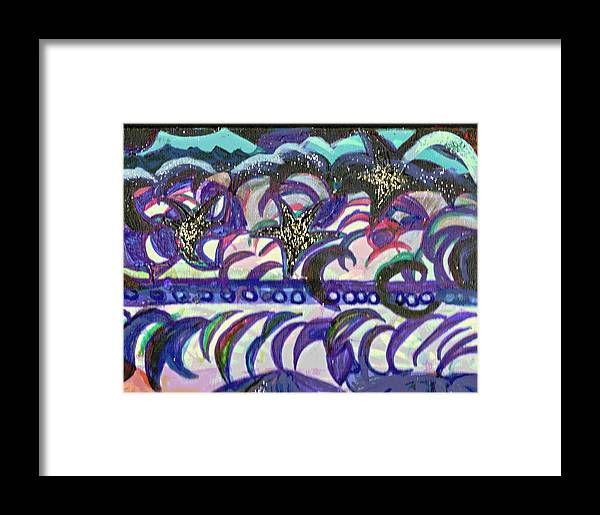 Abstraction Framed Print featuring the mixed media Just A Little Night Mosaic by Anne-Elizabeth Whiteway