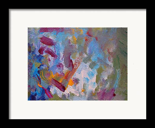 Abstract Framed Print featuring the painting Just A Little Yellow by Kitty Hansen