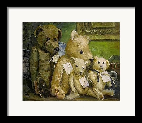 Antique Teddy Bears Framed Print featuring the painting Just A Lookin For A Home by Lilli Pell