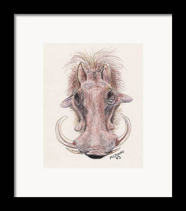 Warthog Framed Print featuring the drawing Just Another Pretty Face by Marqueta Graham