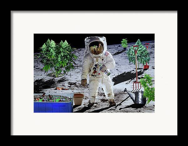Moon Framed Print featuring the digital art Just Call Me Buzz by John Scariano