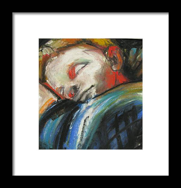 Sleeping Boy Framed Print featuring the painting Just Closing My Eyes by Michelle Winnie