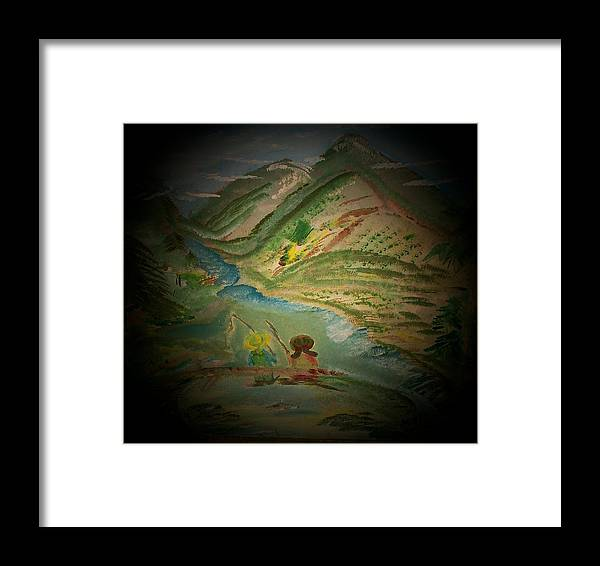 Fishing Framed Print featuring the painting Just Fishin by Mandy Henninger christophel