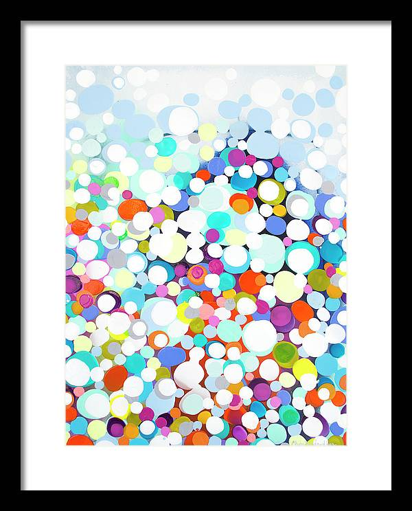 Abstract Framed Print featuring the painting Just For Fun by Claire Desjardins