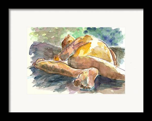 Nude Man Framed Print featuring the painting Just Him. by Tali Farchi