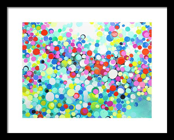 Abstract Framed Print featuring the painting Just Let It by Claire Desjardins