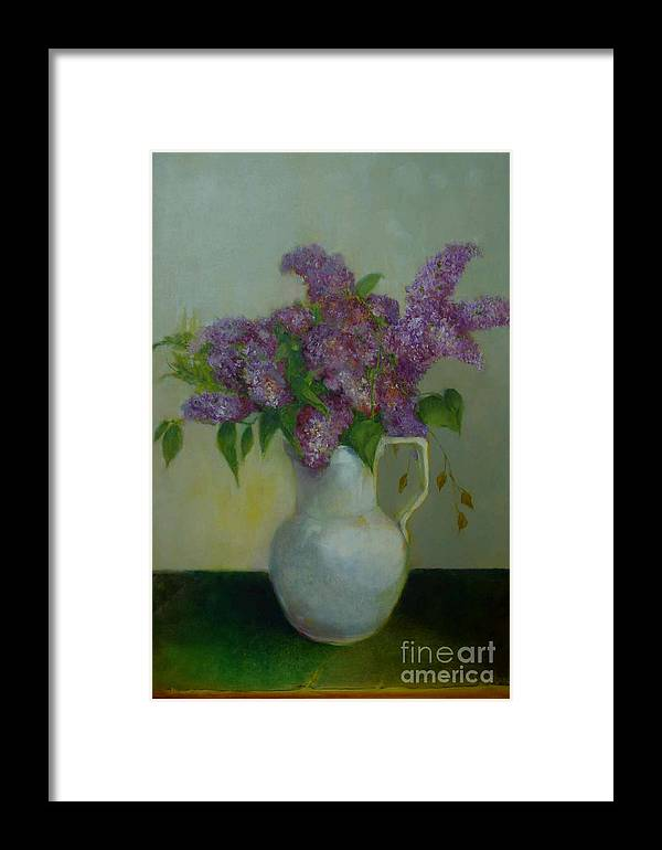 Greeting Card Framed Print featuring the painting Just Lilacs         Copyrighted by Kathleen Hoekstra