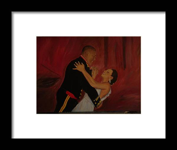 Marine Framed Print featuring the painting Just Married by Regina Walsh