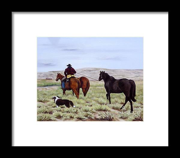Art Framed Print featuring the painting Just Might Rain by Mary Rogers