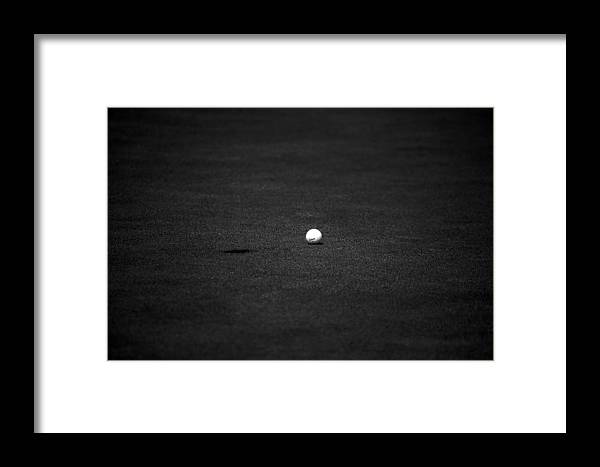 Golf Ball Hole Grass Black White Tee Golfball Framed Print featuring the photograph Just Shy by William Haney