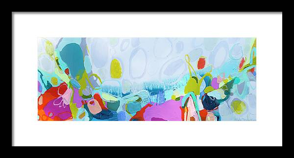 Abstract Framed Print featuring the painting Just Sing by Claire Desjardins