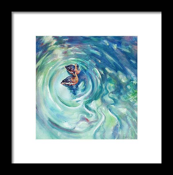 Ducks Framed Print featuring the painting Just Swimming by Ekaterina Mortensen