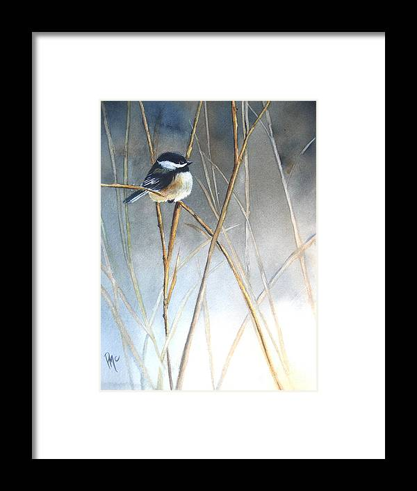 Chickadee Framed Print featuring the painting Just Thinking by Patricia Pushaw