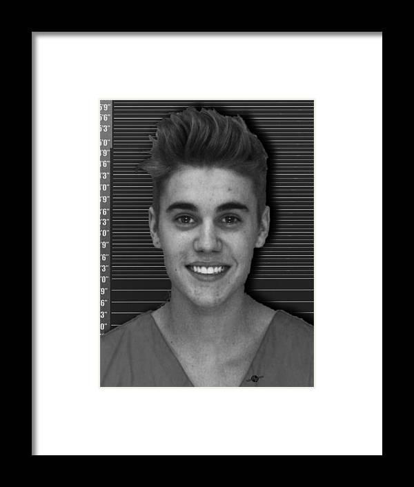 Justin Bieber Mug Shot 2014 Black And White Photo Framed Print by ...