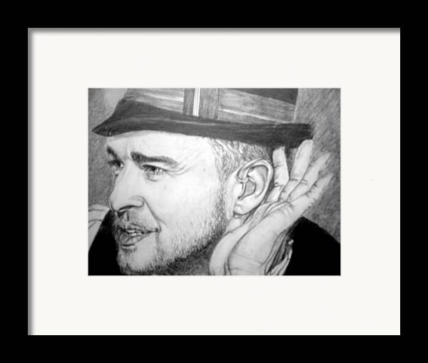 Celeb Portraits Framed Print featuring the drawing Justin Timberlake by Sean Leonard